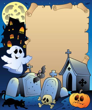 tumbas: Pergamino con ilustraci�n del tema de Halloween. Vectores