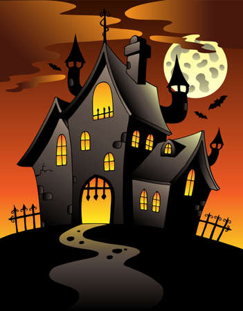 manor: Scene with Halloween mansion illustration.
