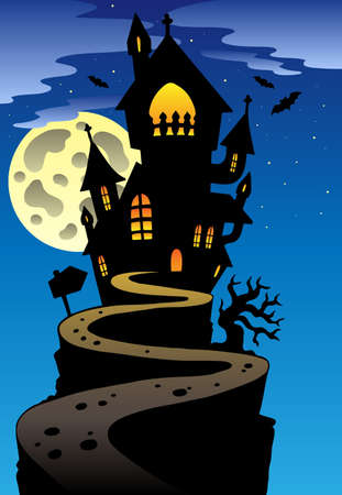 Scene with Halloween mansion  illustration. Stock Vector - 9933132