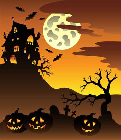 maison de maitre: Sc�ne avec une illustration de Halloween mansion.
