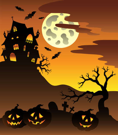 Scene with Halloween mansion illustration. Vector