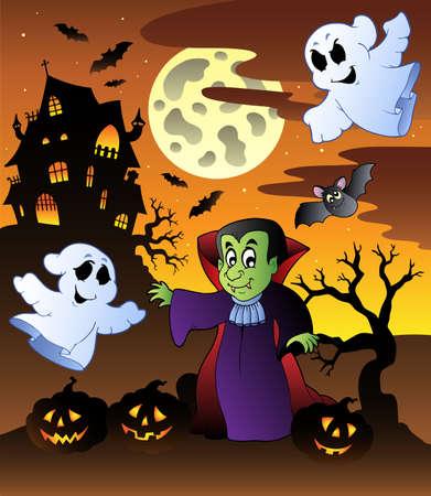 Scene with Halloween mansion illustration. Vector