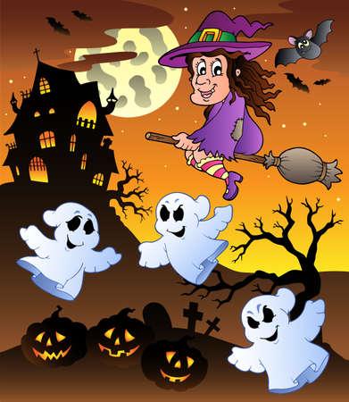 scary night: Scene with Halloween mansion  illustration. Illustration
