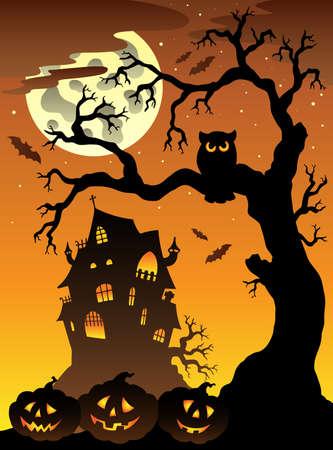 Scene with Halloween mansion  illustration. Stock Vector - 9933171