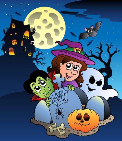 Scene with Halloween mansion illustration. Stock Vector - 9933162