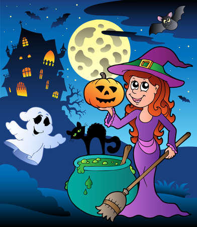 broomstick: Scene with Halloween mansion illustration.