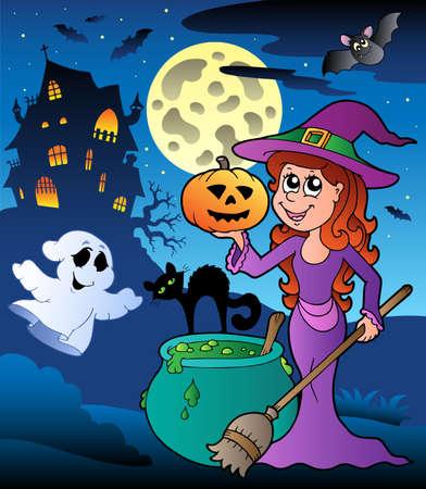 Szene mit Halloween Herrenhaus Abbildung. Standard-Bild - 9933147