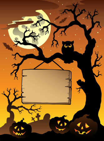 Scene with Halloween tree illustration. Vector