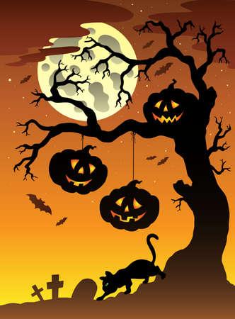 Scene with Halloween tree  illustration. Vector