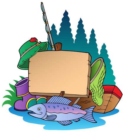 fishing hook: Tavola di legno con illustrazione attrezzatura da pesca.