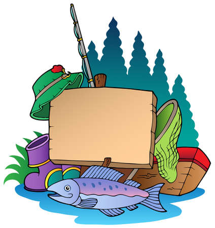 cartoon fishing: Wooden board with fishing equipment illustration.