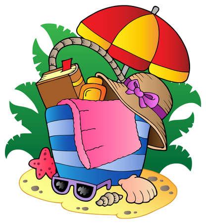 Cartoon beach bag with umbrella - vector illustration. Stock Vector - 10107531