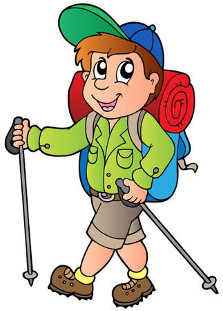 backpackers: Cartoon hiker boy - vector illustration.