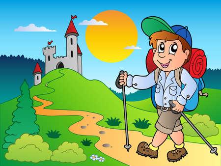 niño con mochila: Chico de excursionista Cartoon cerca del castillo - ilustración vectorial.