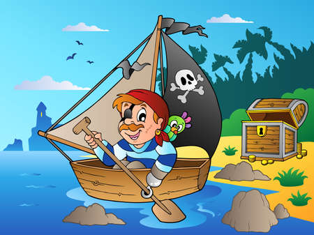 paddling: Coast with young cartoon pirate 1 - vector illustration. Illustration