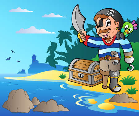 sabre: Coast with young cartoon pirate 2 - vector illustration.
