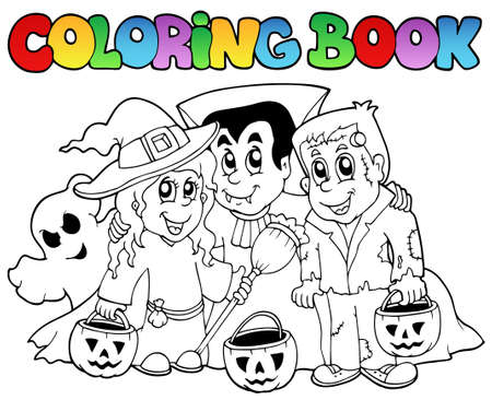 happy halloween: Coloring book Halloween topic 3 - vector illustration.