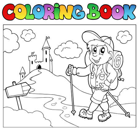 backpackers: Coloring book with hiker boy - vector illustration.