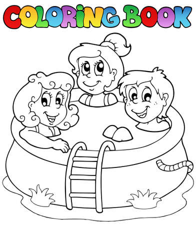 young boy in pool: Coloring book with kids in pool - vector illustration.