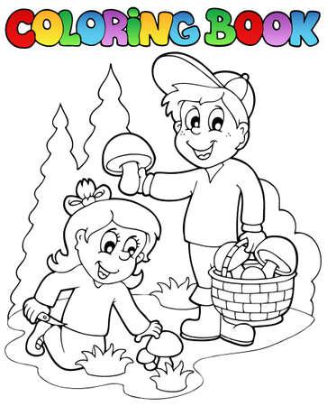 livre � colorier: Coloriage livre avec les enfants multiplient - illustration vectorielle.
