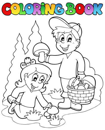 coloring book: Coloring book with kids mushrooming - vector illustration.