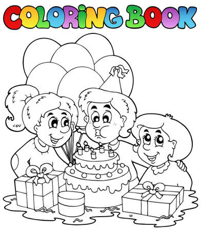 Coloring book with party theme 2 - vector illustration. Ilustracja