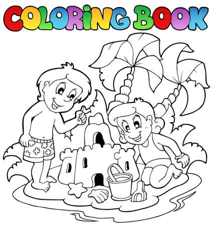 children sandcastle: Coloring book with summer theme 1 - vector illustration.
