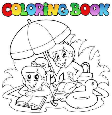 livre � colorier: Livre de coloriage avec deux th�mes d'�t� - illustration vectorielle.