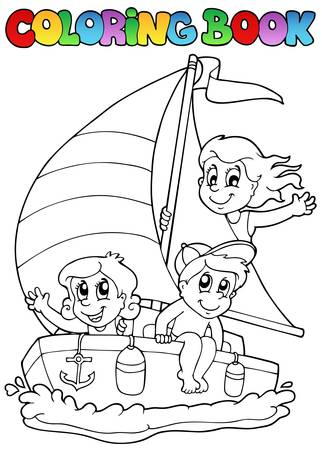 Coloring book with yacht and kids - vector illustration. Vector