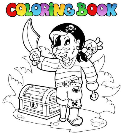 man holding book: Coloring book with young pirate - vector illustration.