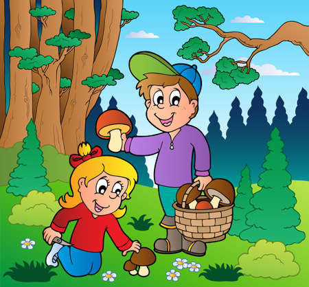 picking: Forest with kids mushrooming - vector illustration.