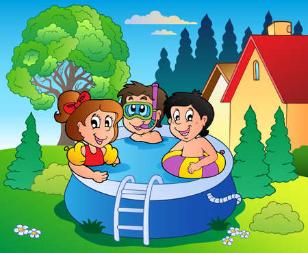 young boy in pool: Garden with pool and cartoon kids - vector illustration. Illustration