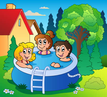 backyards: Garden with three kids in pool - vector illustration. Illustration