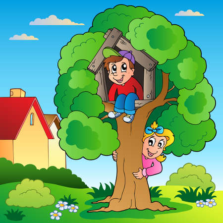 Garden with two kids and tree - vector illustration. Иллюстрация
