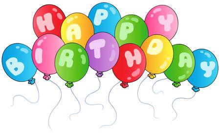 globos de cumplea�os: Globos de cumplea�os feliz - ilustraciones vectoriales. Vectores