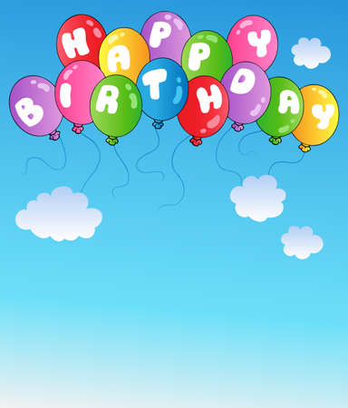 Happy birthday balloons on blue sky - vector illustration. Vector