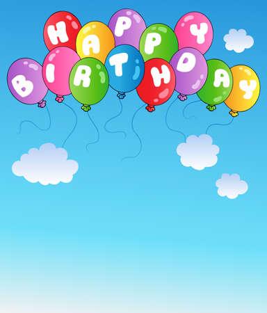 happy birthday balloons: Happy birthday balloons on blue sky - vector illustration.