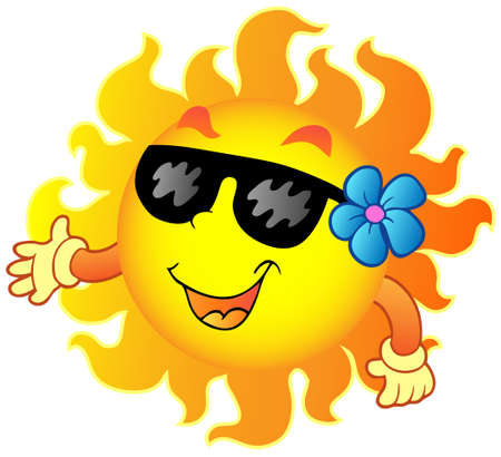 sol caricatura: Feliz verano el Sol 1 - ilustraci�n vectorial.
