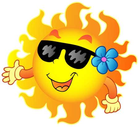 sun glasses: Happy summer Sun 1 - vector illustration. Illustration