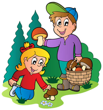 gather: Kids picking up mushrooms - vector illustration. Illustration