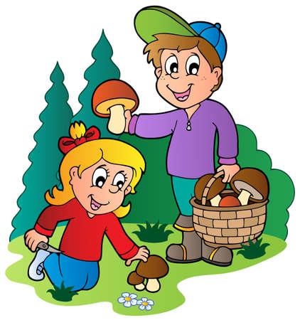 Niños recogiendo setas - ilustración vectorial.