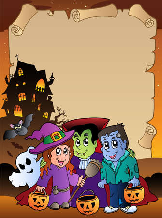 Parchment with Halloween topic 4 - vector illustration. Vector