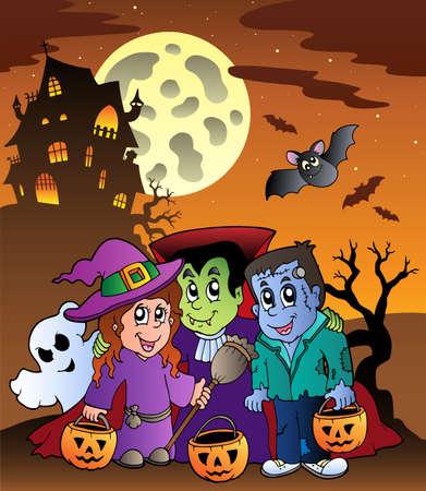 maison de maitre: Sc�ne avec mansion Halloween 9 - illustration vectorielle.