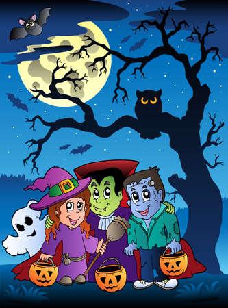 Scene with Halloween tree 3 - vector illustration. Vector