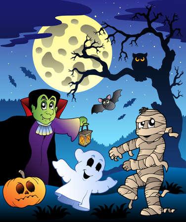 Moonlight lanterns: Cảnh với cây Halloween 4 - minh hoạ vector. Hình minh hoạ