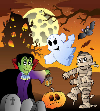 haunt: Scene with haunted house 1 - vector illustration.