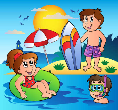 summer cartoon: Summer theme image 1 - vector illustration. Illustration