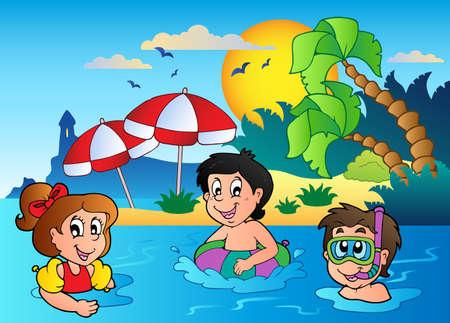ba�arse: Imagen del tema de verano 2 - ilustraci�n vectorial. Vectores