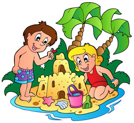 children sandcastle: Summer theme image 3 - vector illustration.