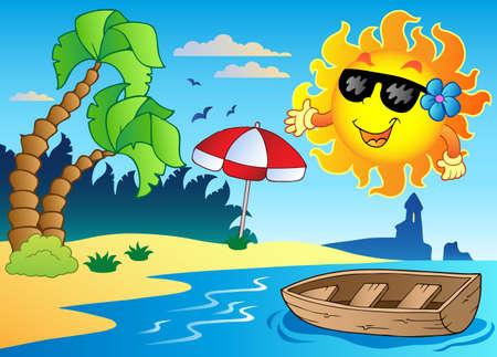 sol caricatura: Imagen del tema de verano 4 - ilustración vectorial.